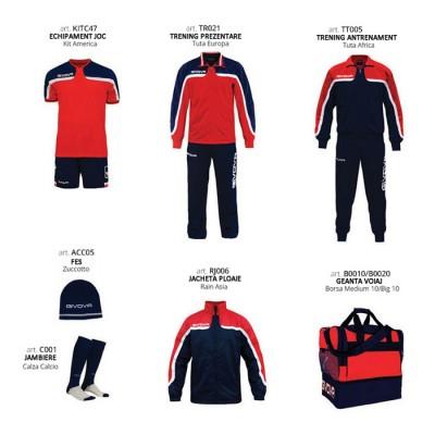Комплект Футболни екипи Box Platinum Basico, Red Navy, GIVOVA