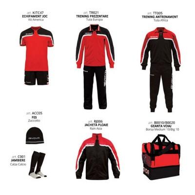 Комплект Футболни екипи Box Platinum Basico, Red Black, GIVOVA