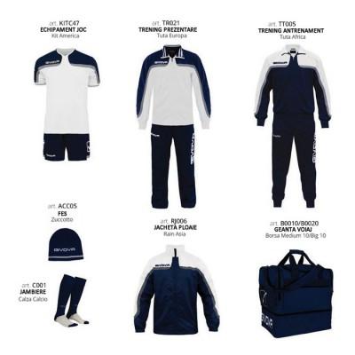 Комплект Футболни екипи Box Platinum Basico, White Navy, GIVOVA