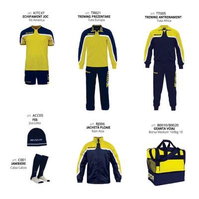 Комплект Футболни екипи Box Platinum Basico, Yellow Navy, GIVOVA