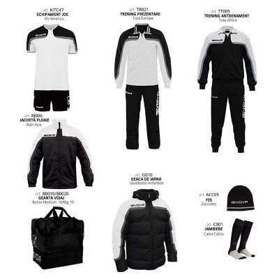 Комплект Футболни екипи Box Platinum, White Black, GIVOVA