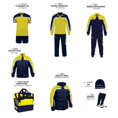Комплект Футболни екипи Box Platinum, Yellow Navy, GIVOVA